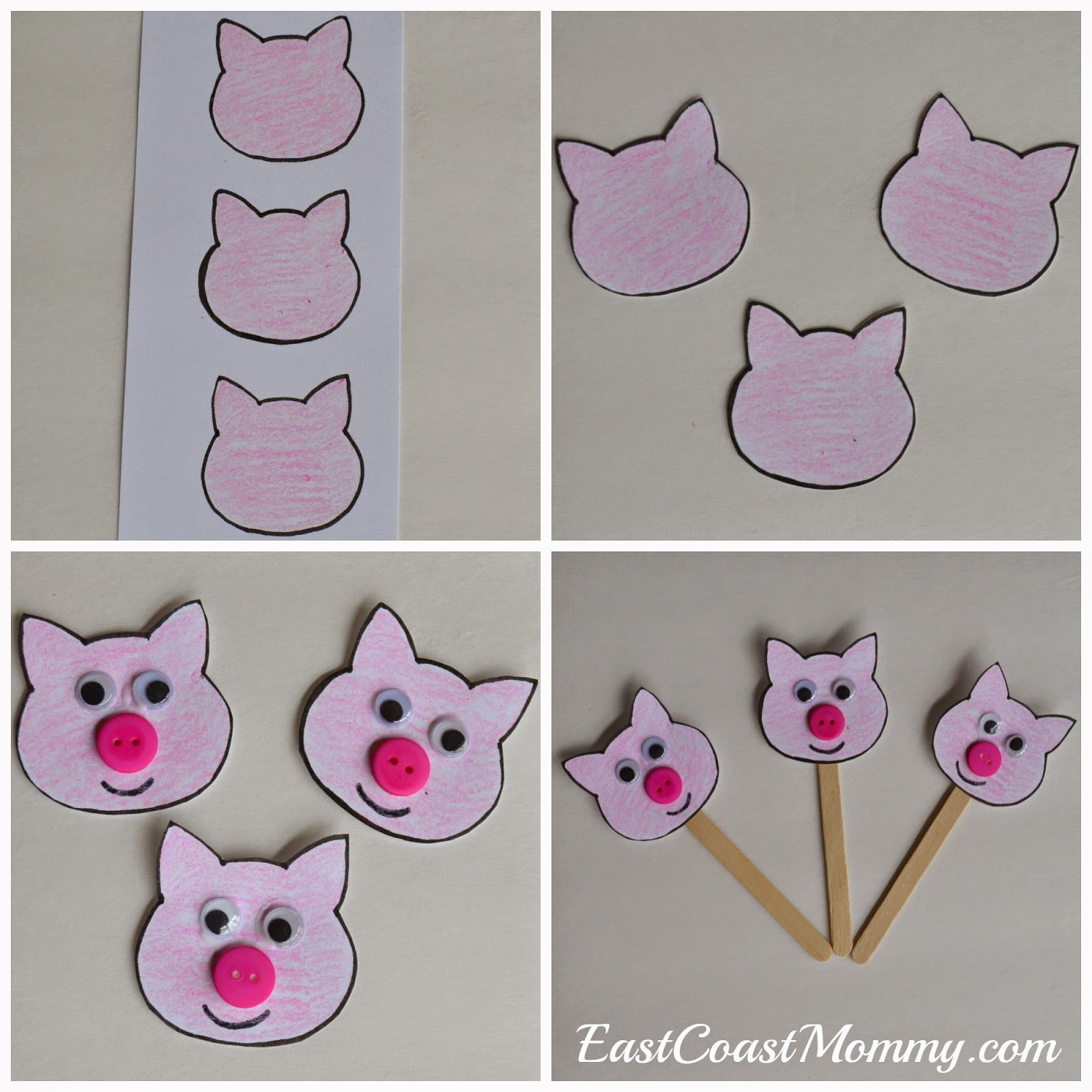 Number Crafts Number Three The Three Little Pigs