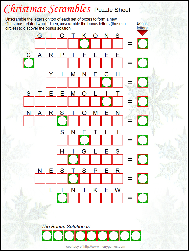 FREE Printable Christmas Scramble great holiday