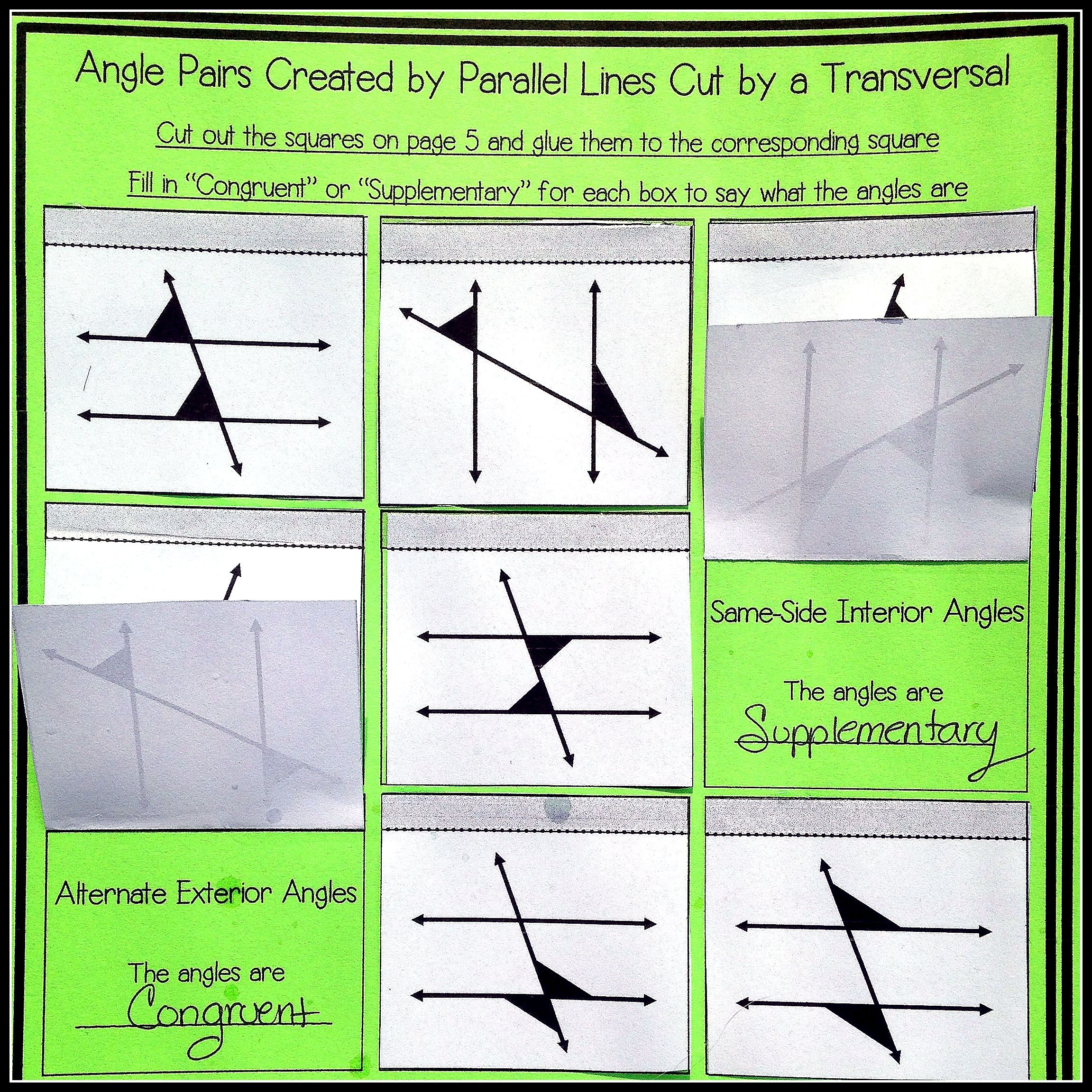 Parallel Lines Cut By A Transversal Notes And Worksheets
