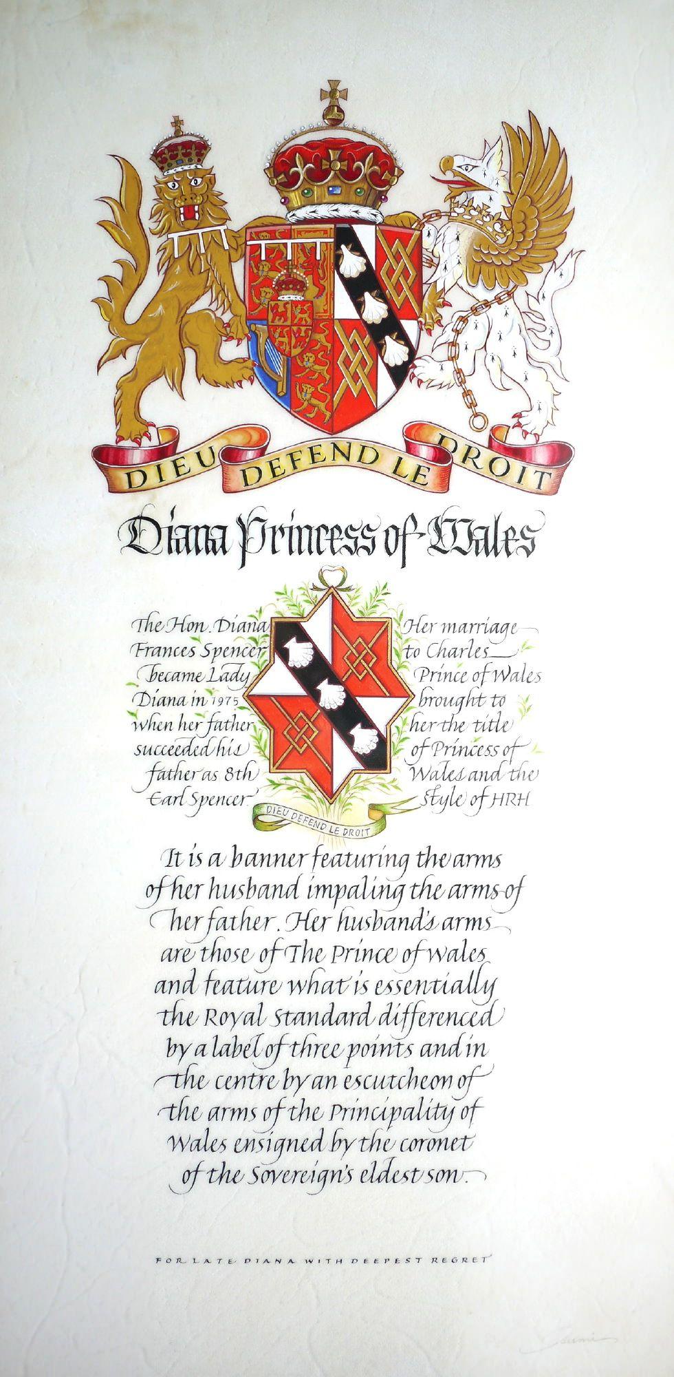 Coat of Arms of Diana, Princess of Wales, 2007
