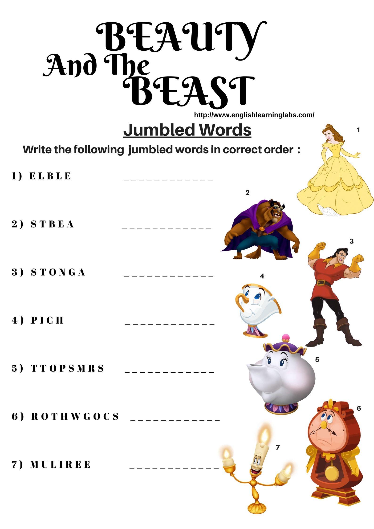 Disney Spelling Activity Worksheet