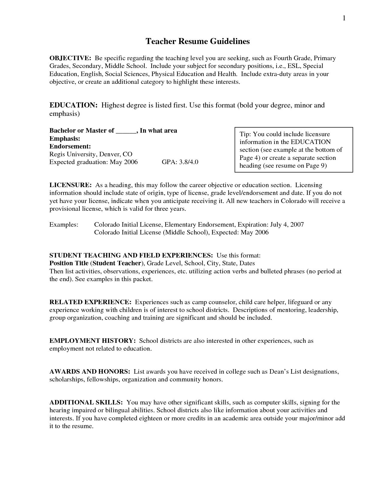 Resume Objective Statement For Teacher