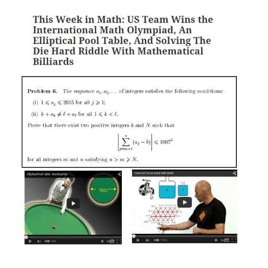 This Week in Math US Team Wins the International Math