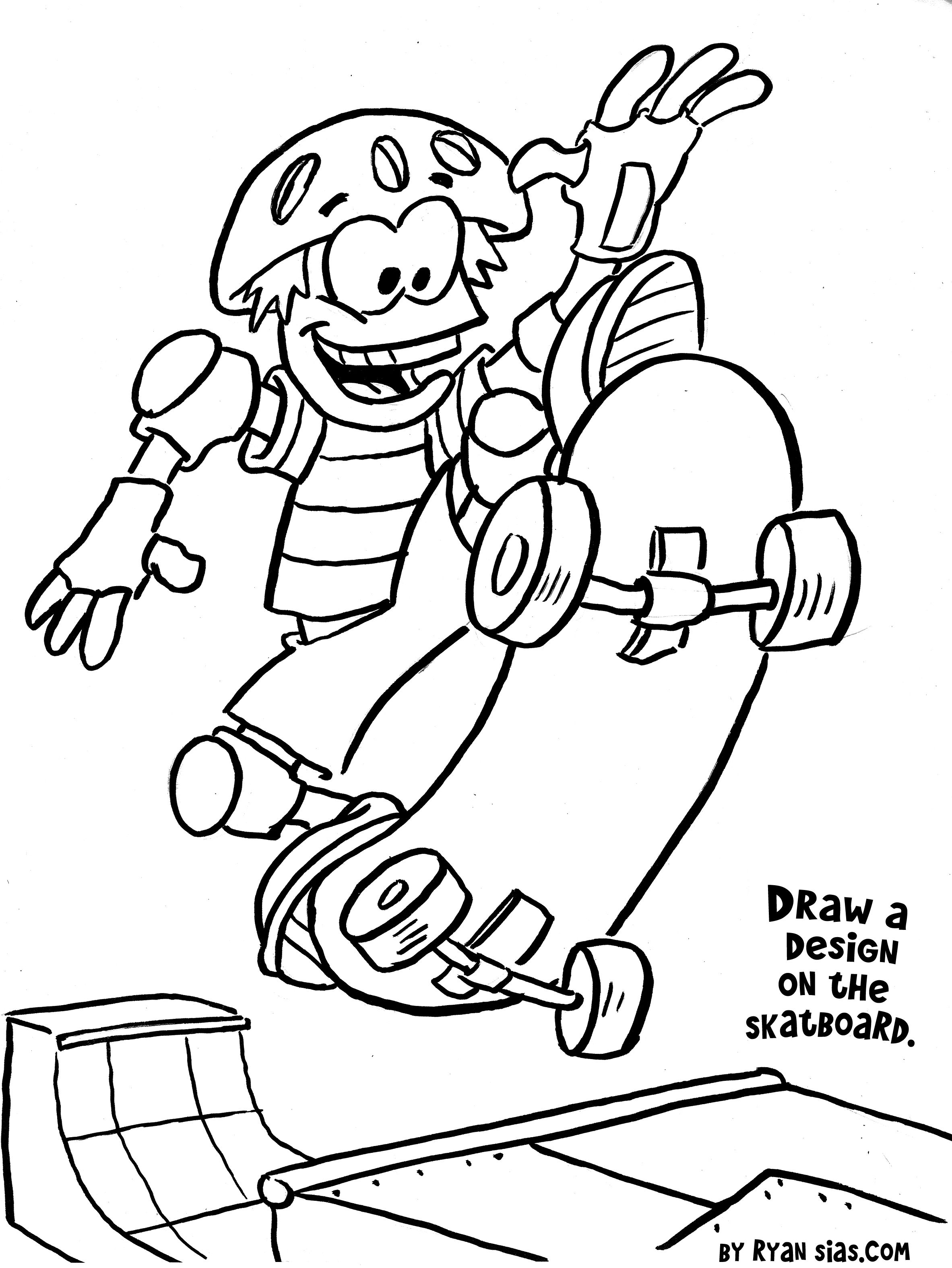 Free Printable Sports Coloring Pages Skateboard