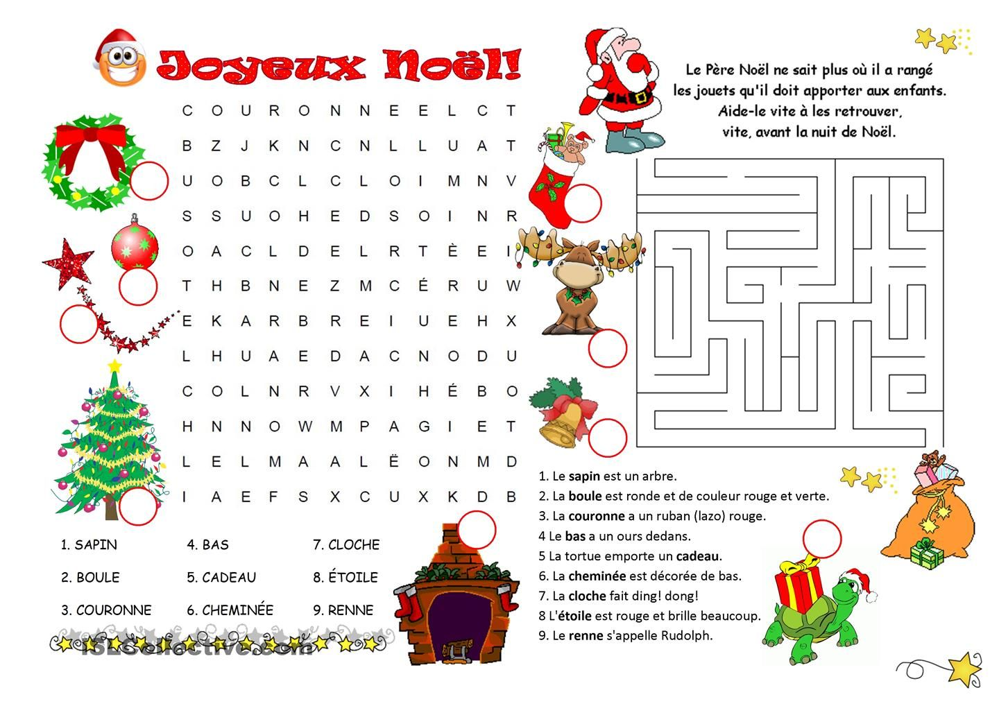 Mots Caches Labyrinthe Noel