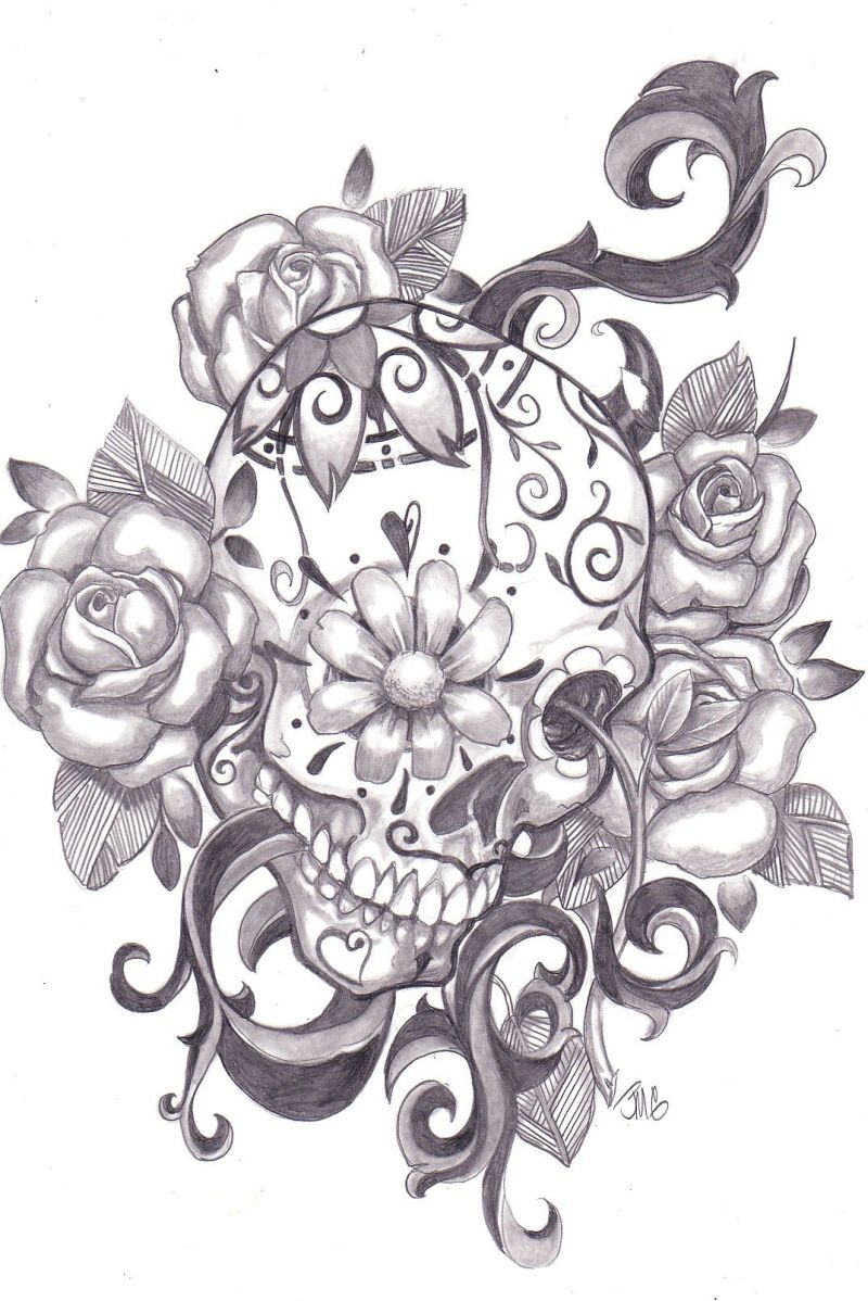 How To Draw A Sugar Skull Rose | Howsto.Co
