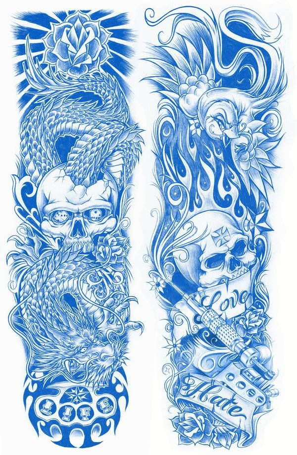 Sleeve tattoo design.both sides tattoos Picture Half