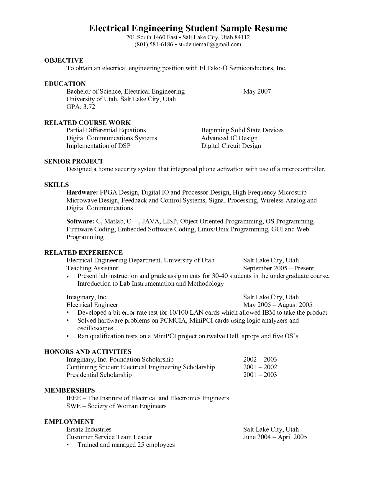 engineering student resume Google Search Resumes