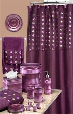 sequins purple bath accessory set--this has everything i would