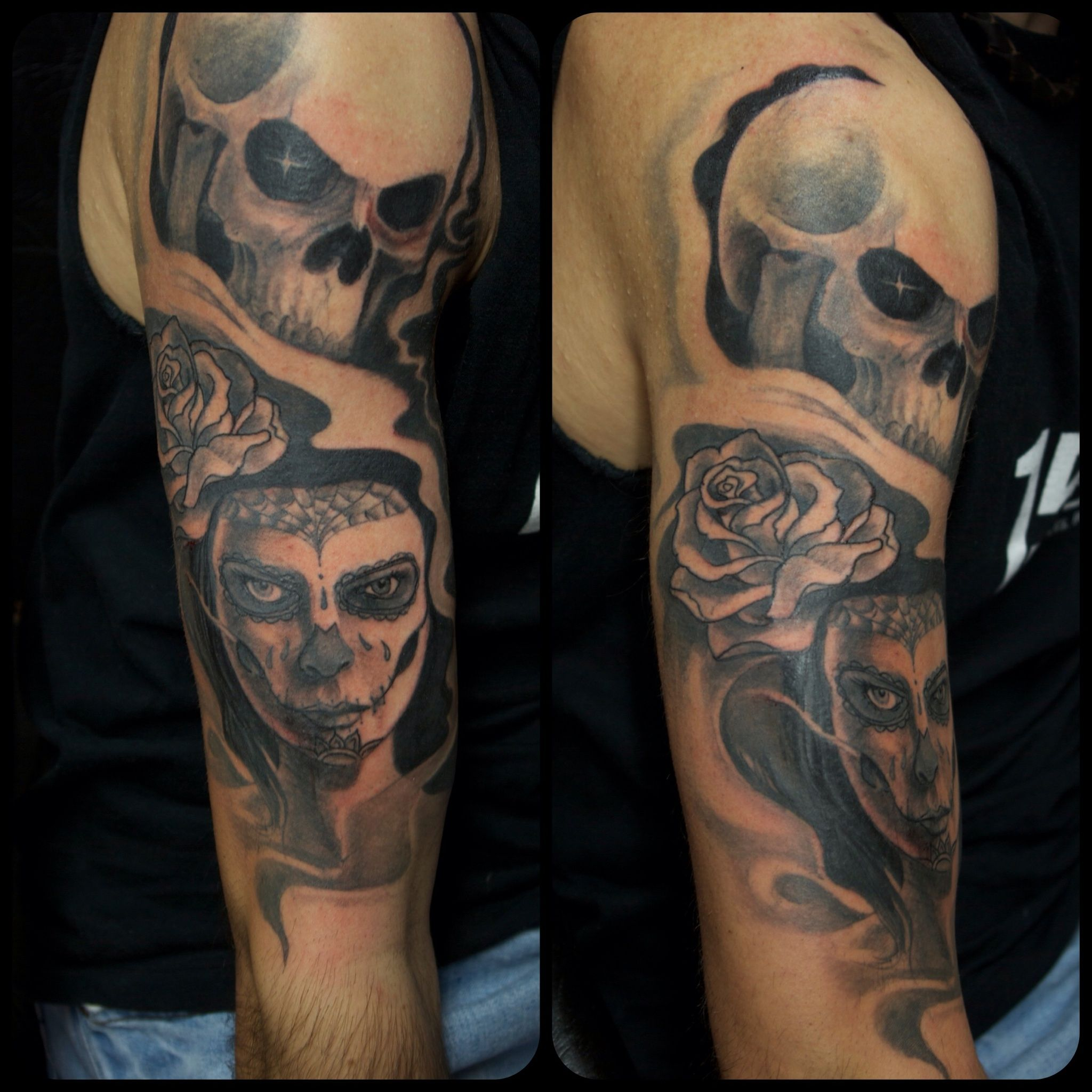 Tattoo, skull, woman, rose. Arm Tattoo Marecuza tattoo