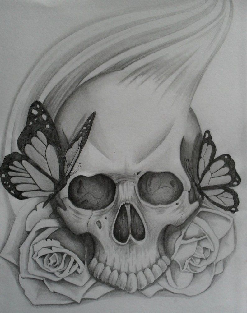 simple skull tattoo Pin Easy Drawings Of Roses And