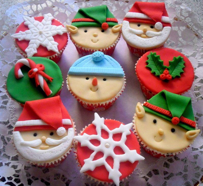 Christmas Cupcake Fondant Topper Edible, Santa Elf