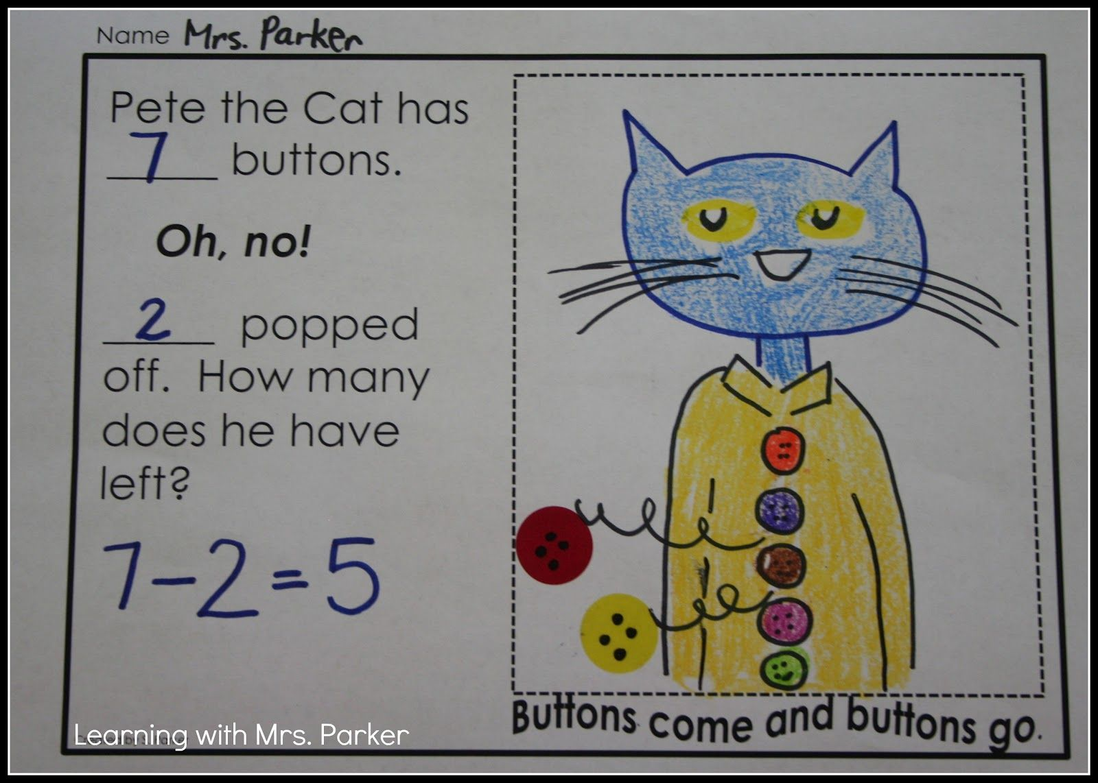 Pete The Cat Activities Free Pete The Cat Math Worksheet