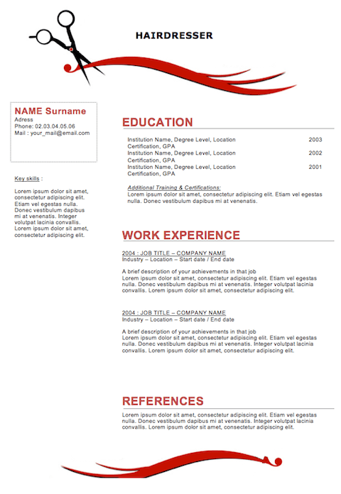 Stylist Resume Example. hairstylist resume cover letter template ...