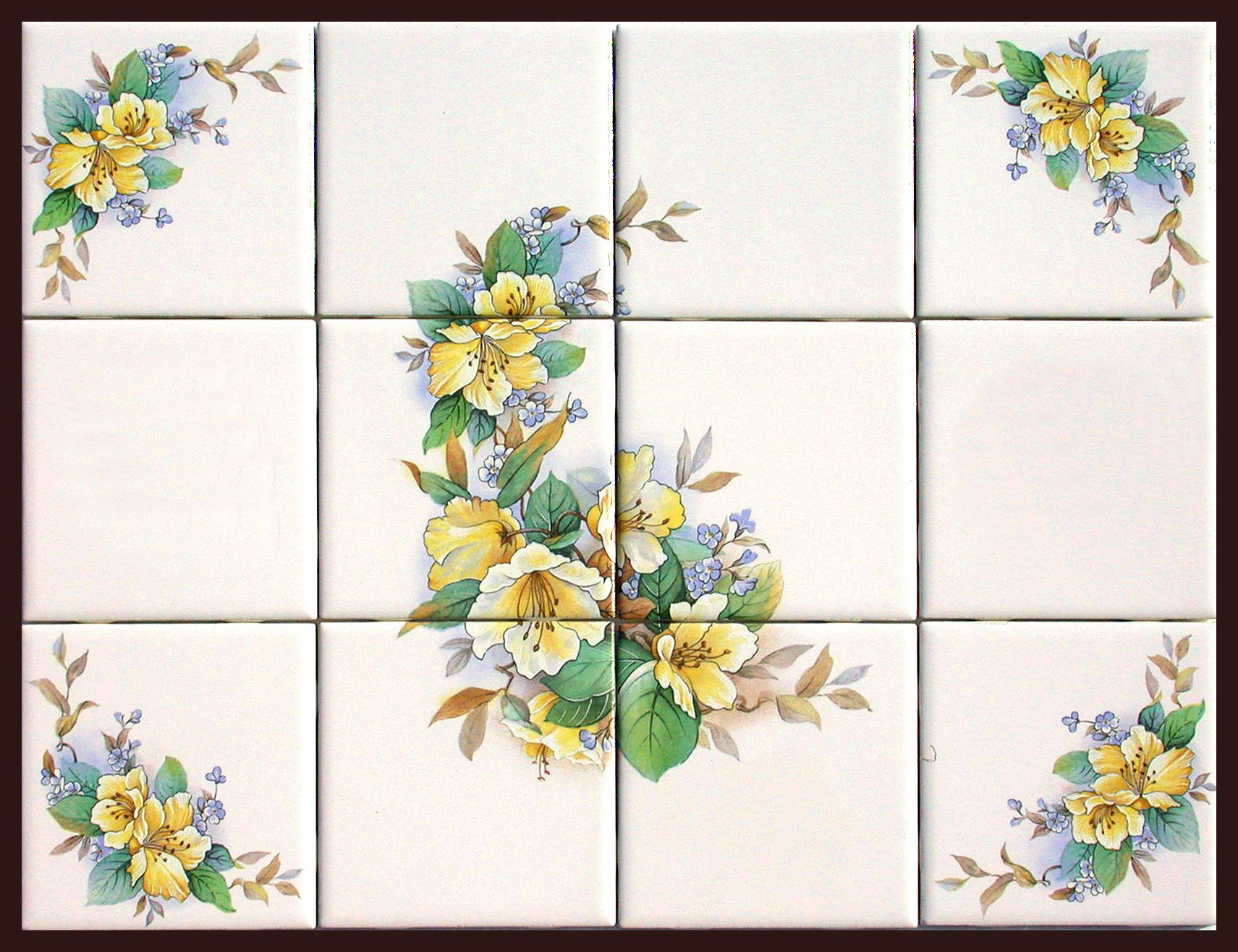 Rub On Decals for Tile Ceramic Tile Murals with Matching