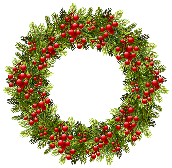 Green Christmas Pine Wreath PNG Clipart Image Graphics