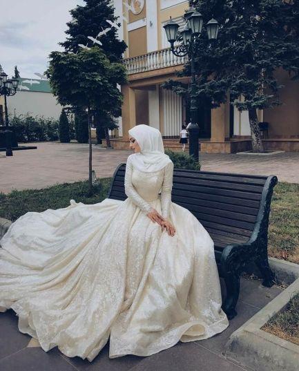 10 Wedding Hijab Styles That Are Stunning,Flowy Bohemian Beach Wedding Dresses
