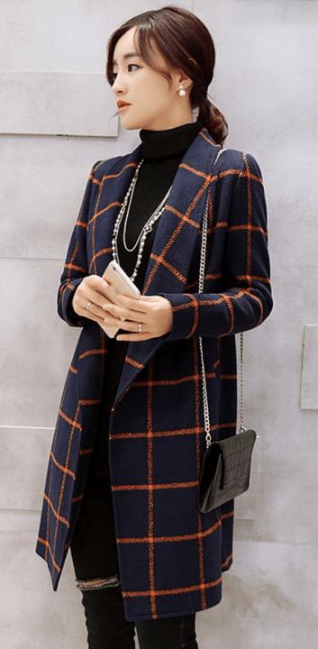 Woolen coat, Women, Women jackets, korean plaid coats