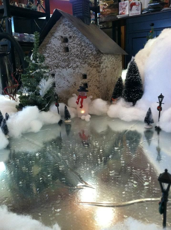 Silver Mylar To Create Frozen Pond For Christmas Village