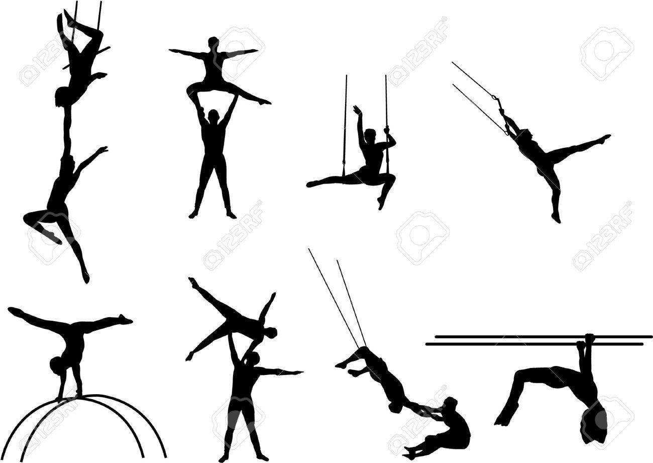 Acrobats Silhouettes Stock Vector Circus T Ze