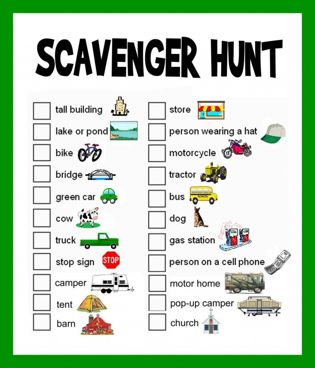 Scavenger Hunt Ideas Lists and Planning Road trips