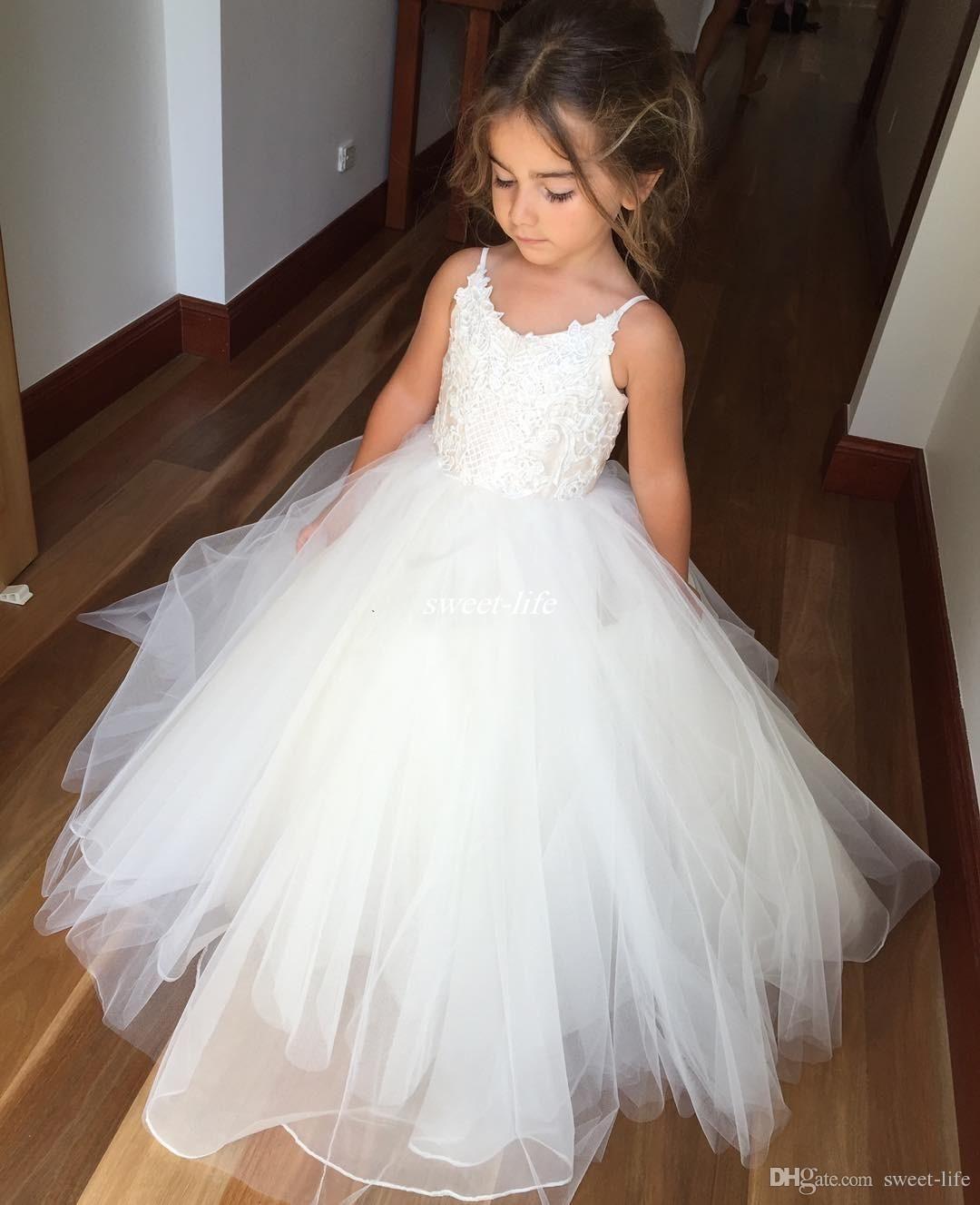 White Ball Gown Tulle Flower Girl Dresses for Vintage