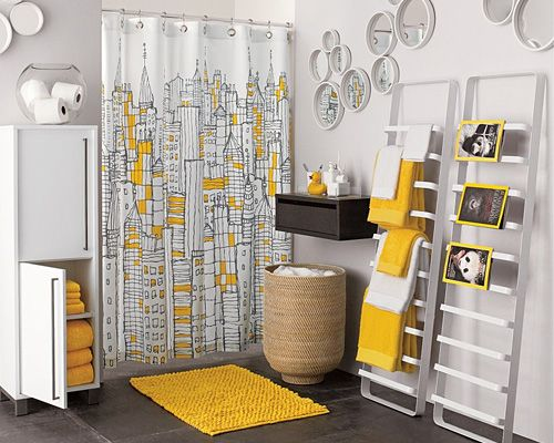 design porn: shower curtains | yellow bathrooms, grey yellow