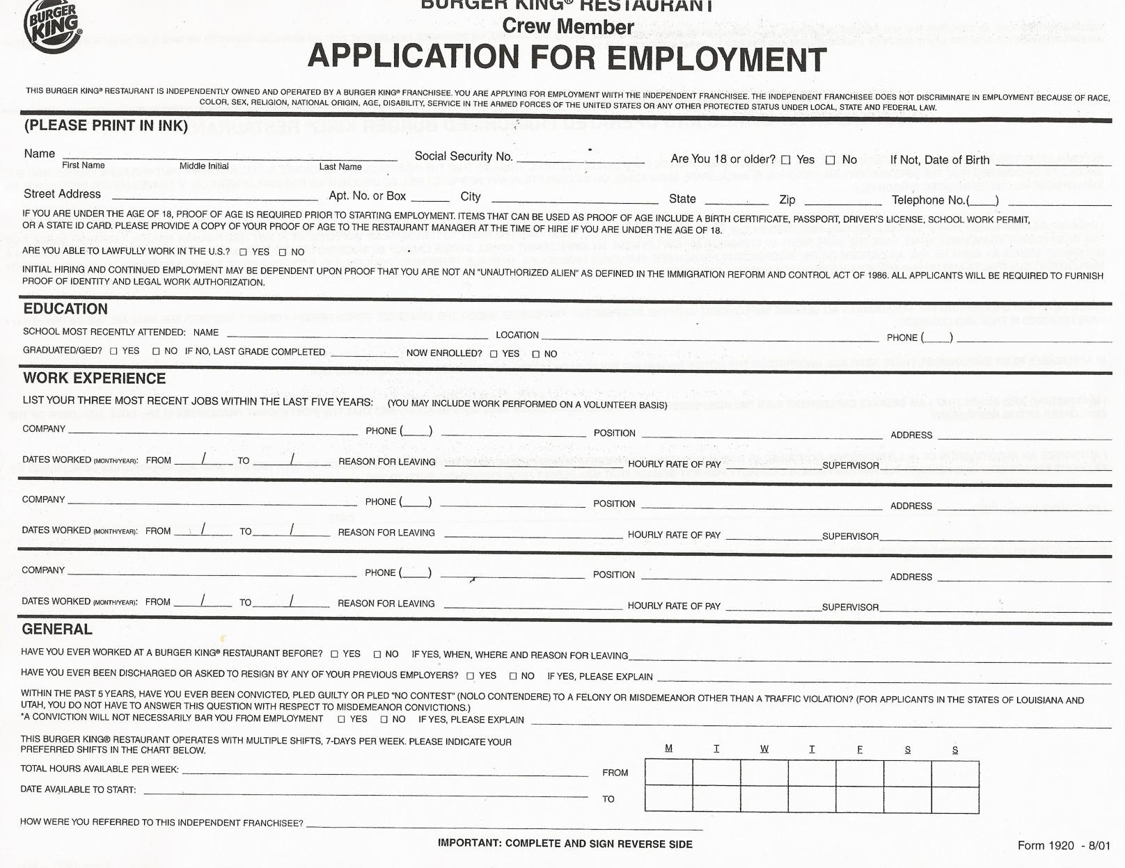 Job Application Forms To Print