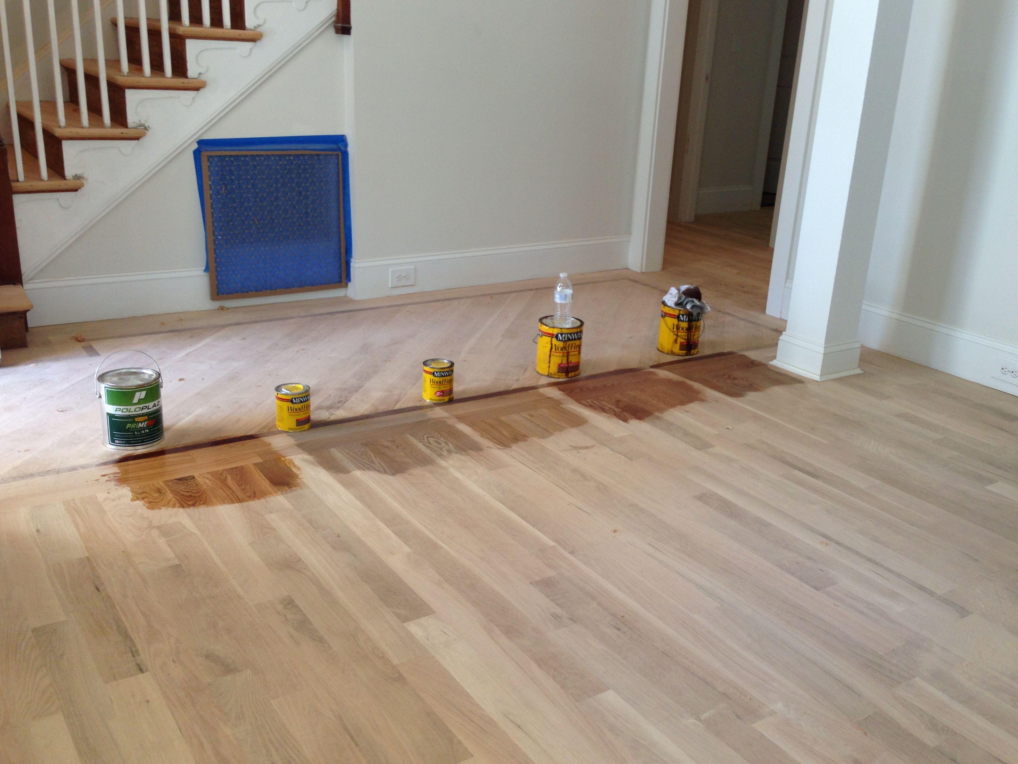 Minwax floor stains for White Oak flooring far left, just