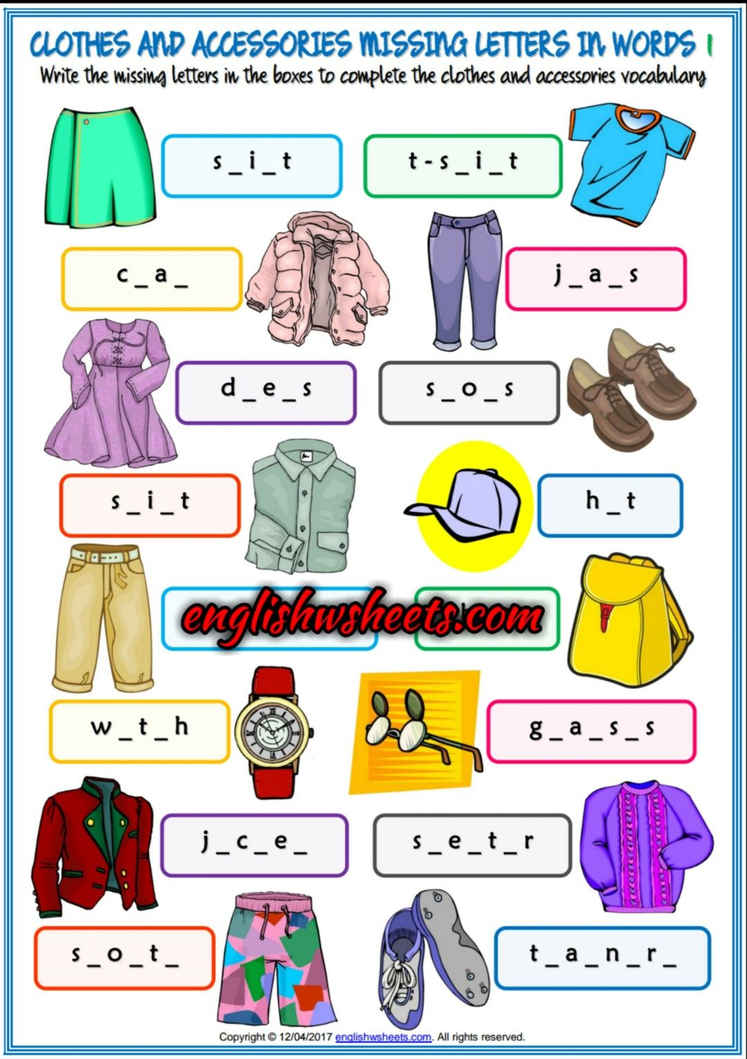 Clothes And Accessories Esl Printable Missing Letters In