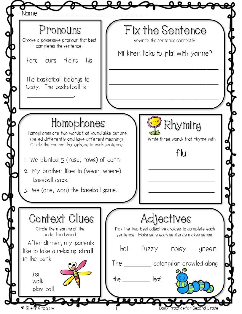 Grammar review for 2nd gradeFree morning work Graphic