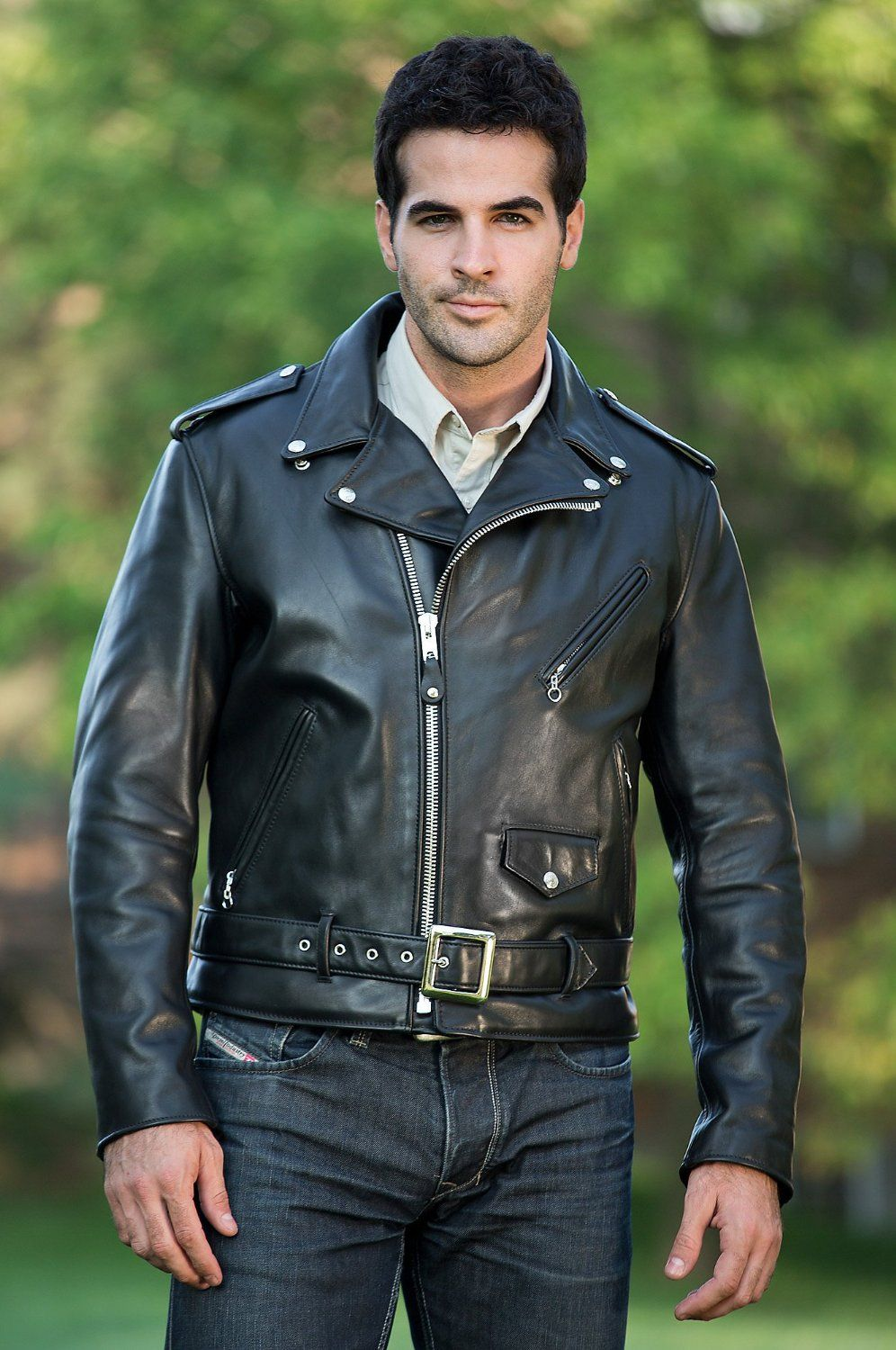 Hot guy in a black biker leather jacket http