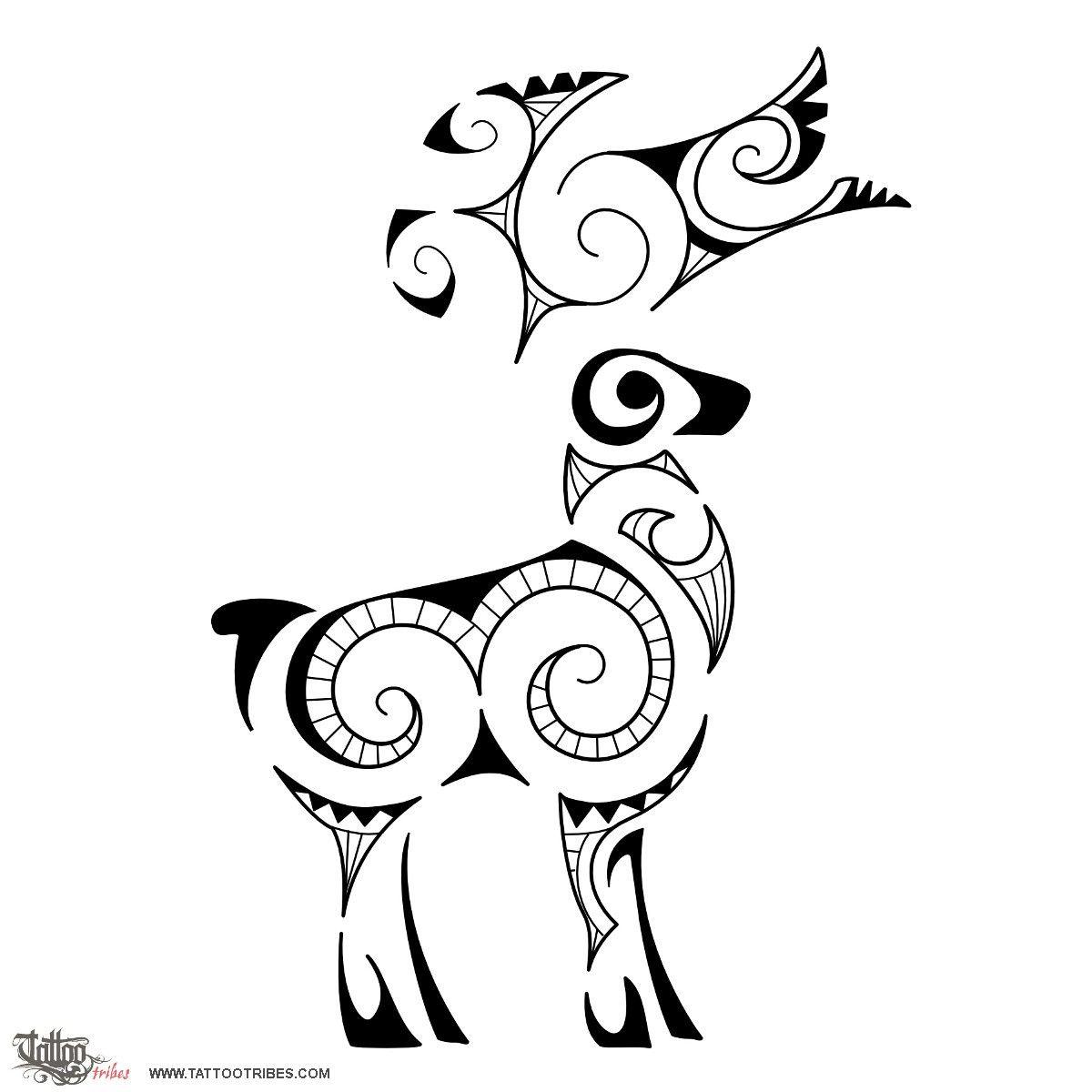 Earth Maori Deer Tattoo