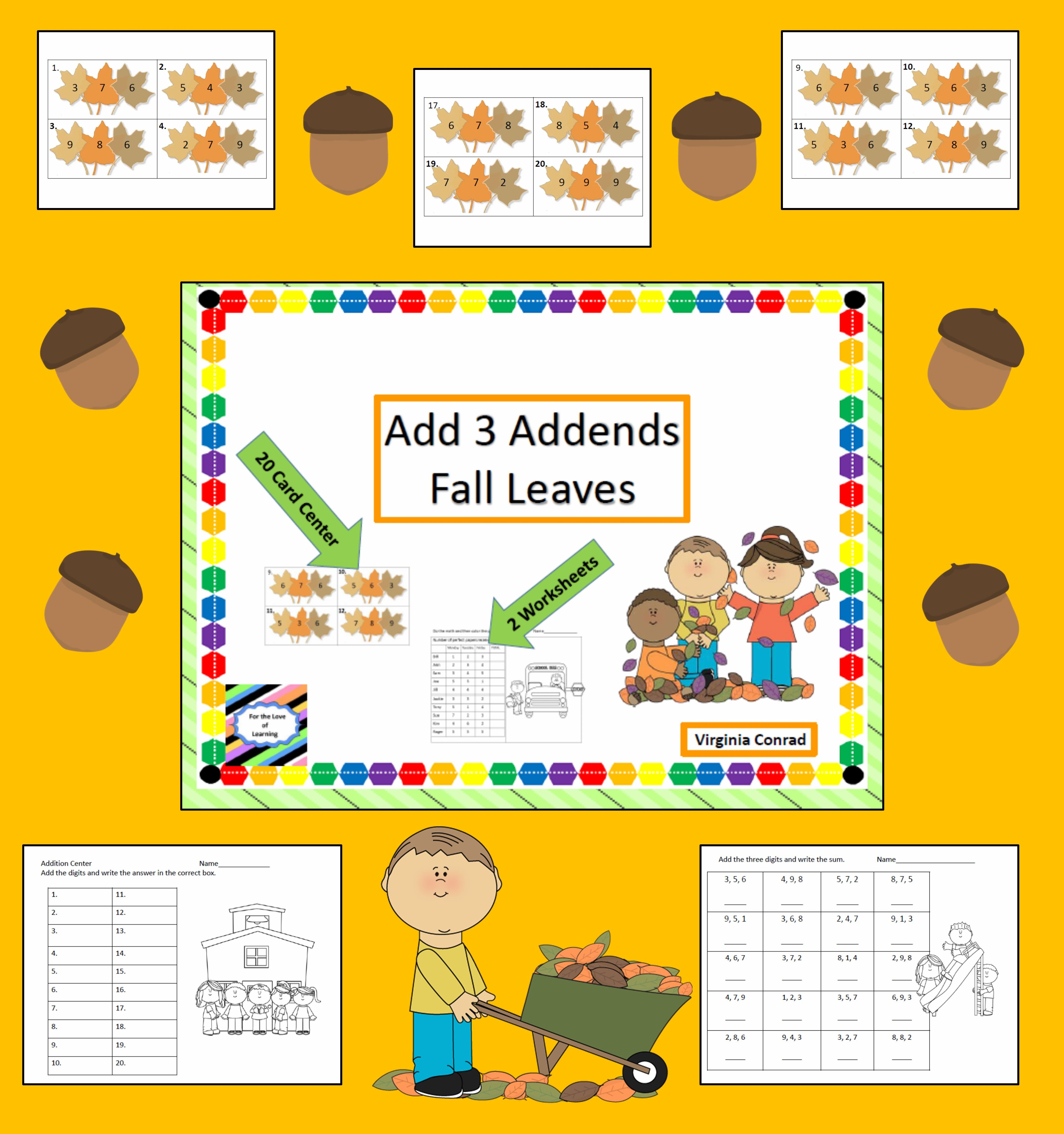 Adding 3 Single Digit Addends Center Fall Theme