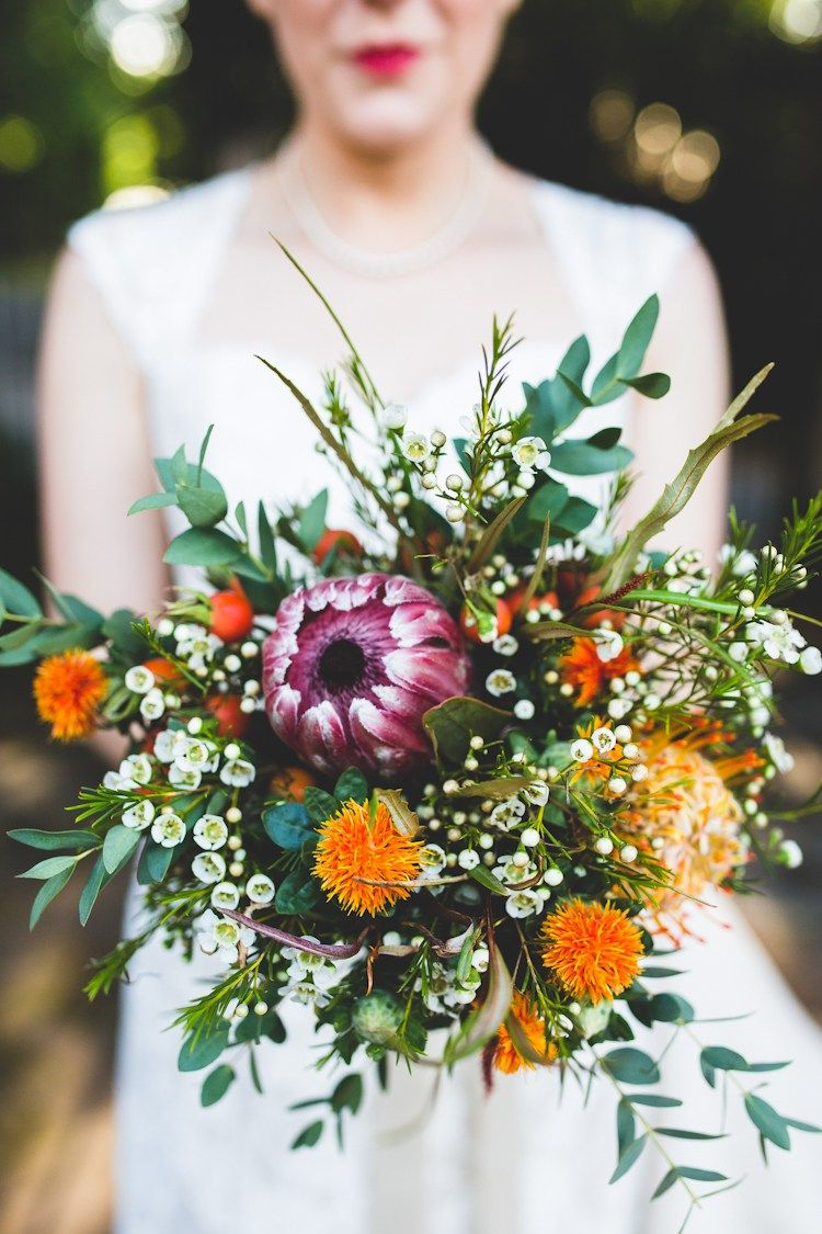 Wax Flower Bouquet Protea Orange Purple Autumn Kentish