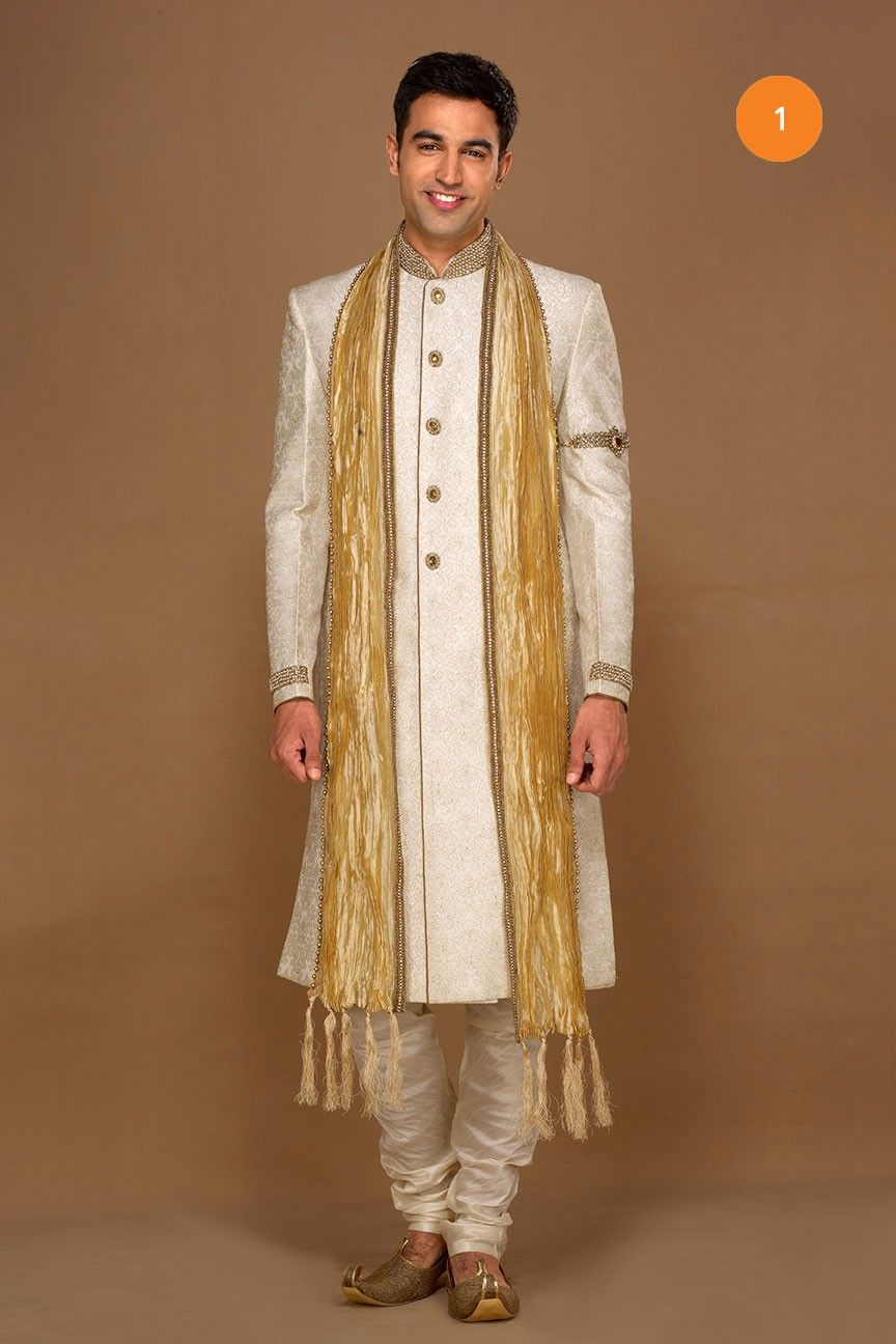 710 days Manyavar Off white imperial sherwani Vestments