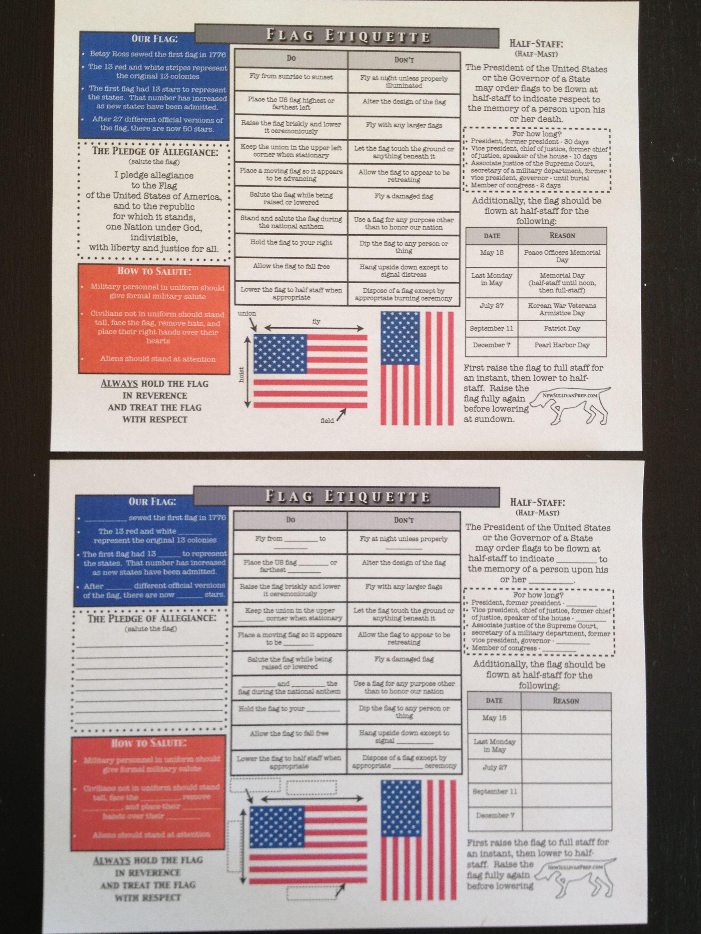 American Flag Etiquette Worksheets