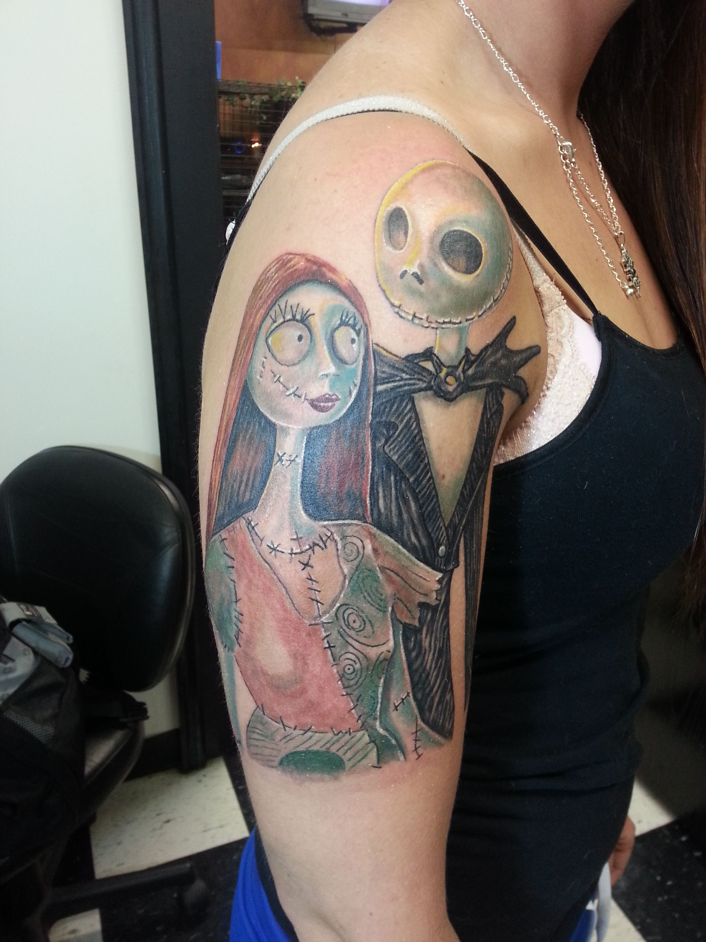 Nightmare before Christmas Tattoo Jack and Sally Color