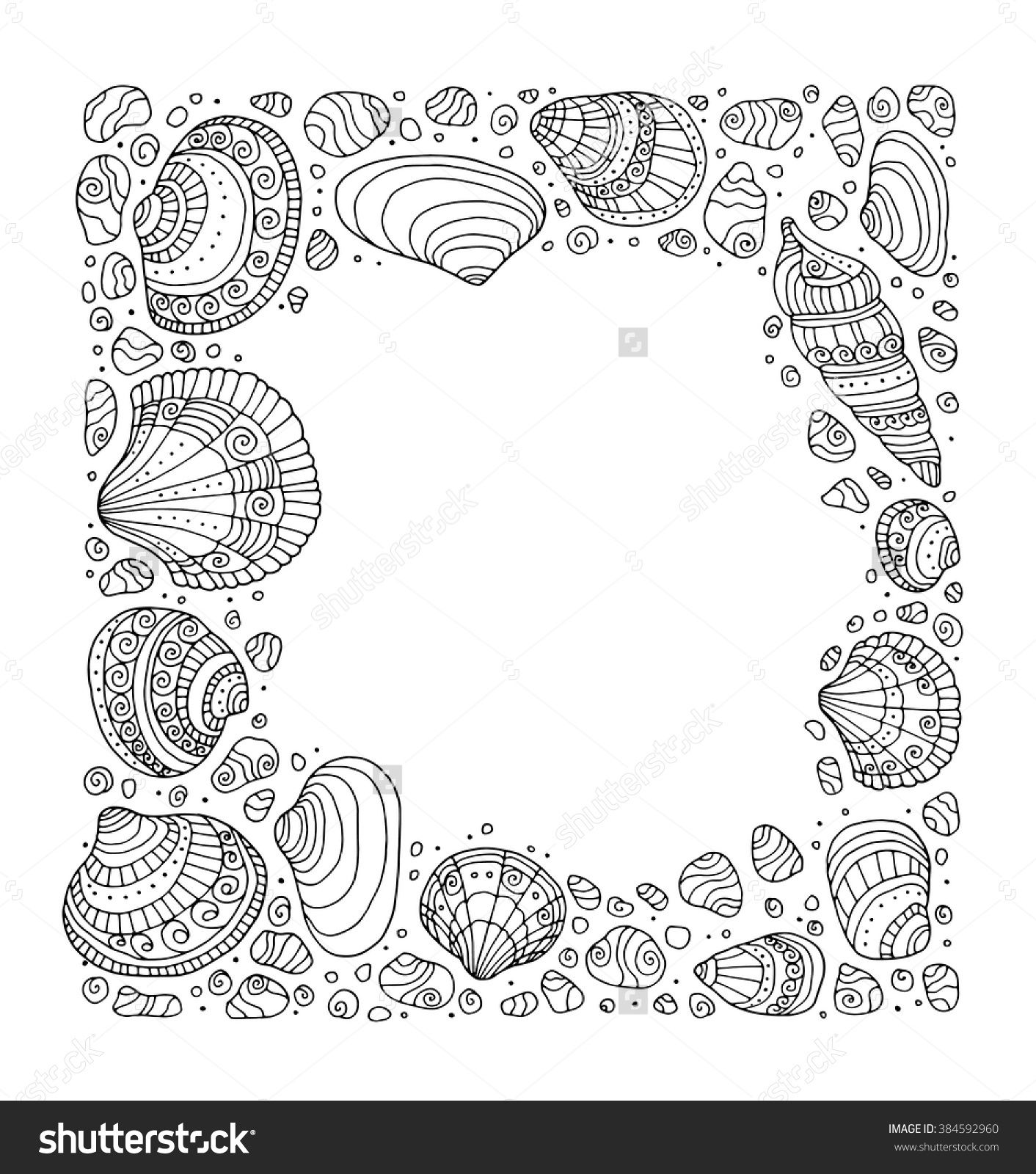Seashell Border Frame Ocean Pattern Vector Vintage