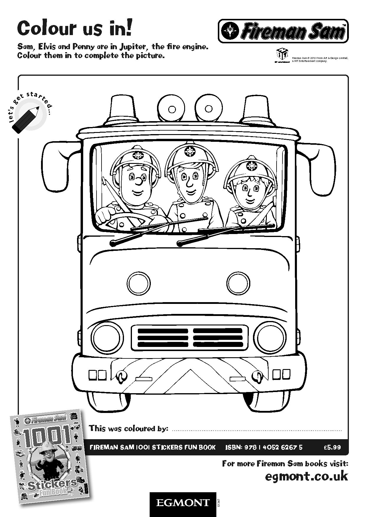 Fireman Sam Colouring Activity Sheet Sam S Out For A