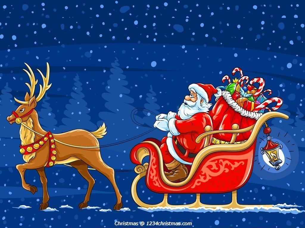 Santa Claus Reindeer Wallpaper Download Santa Flying
