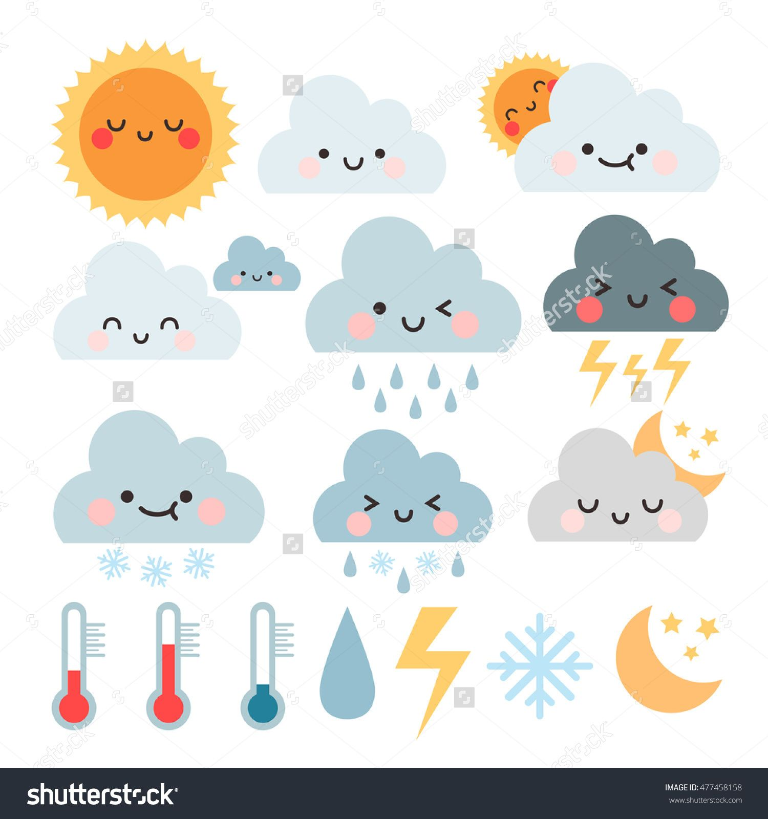 cute cartoon set with weather icons. cute weather icons