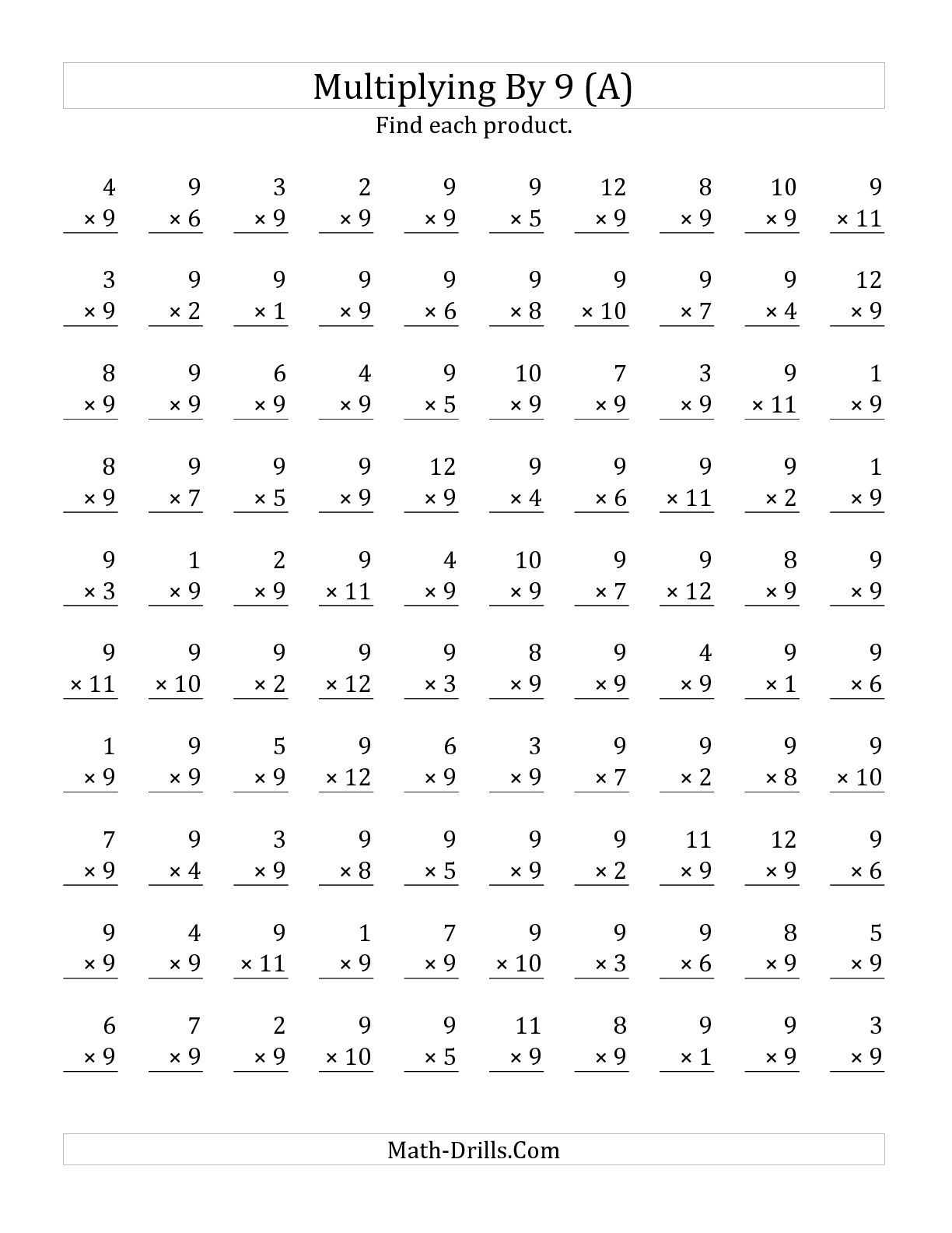 The Multiplying 1 To 12 By 9 A Math Worksheet From The