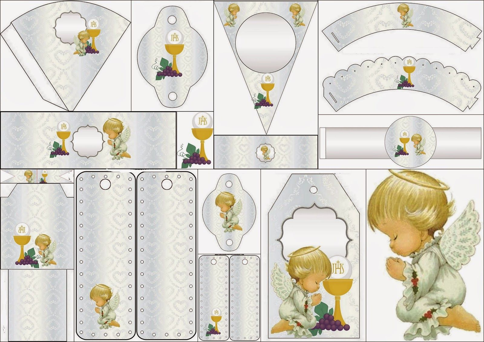 First Communion Free Party Printables In Silver With Precious Moments Angels