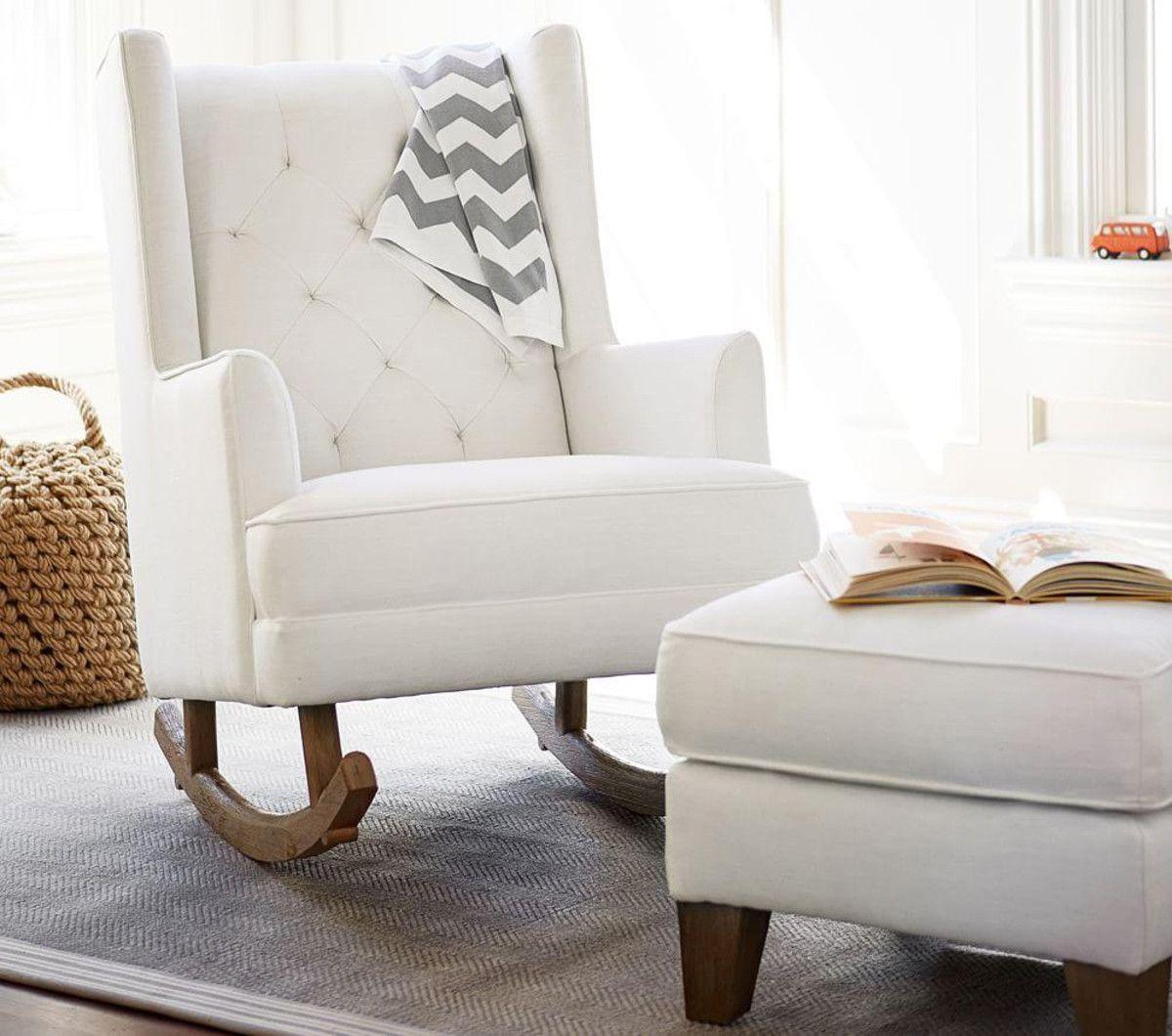 Modern Tufted Wingback Rocker, Stylish Nursery Chairs