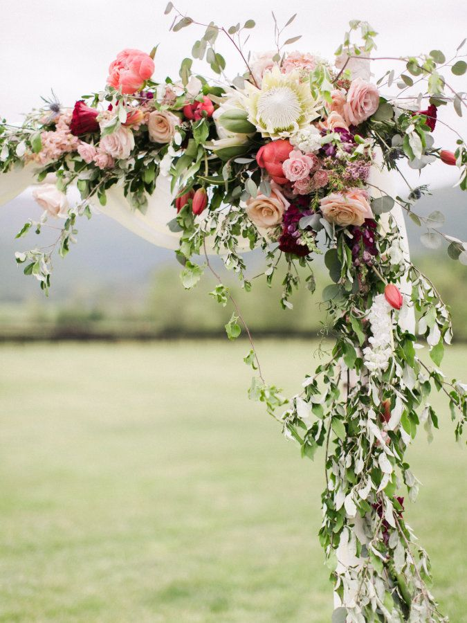Colorful Rustic Chic Crimson Wedding Arch, Virginia and