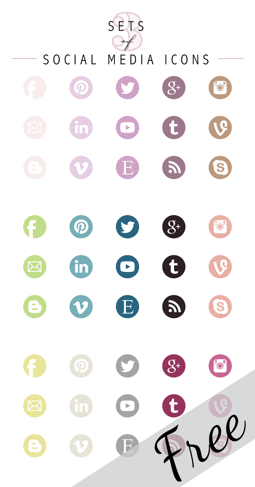 Social Media Icons Set Social media icons, Icons and