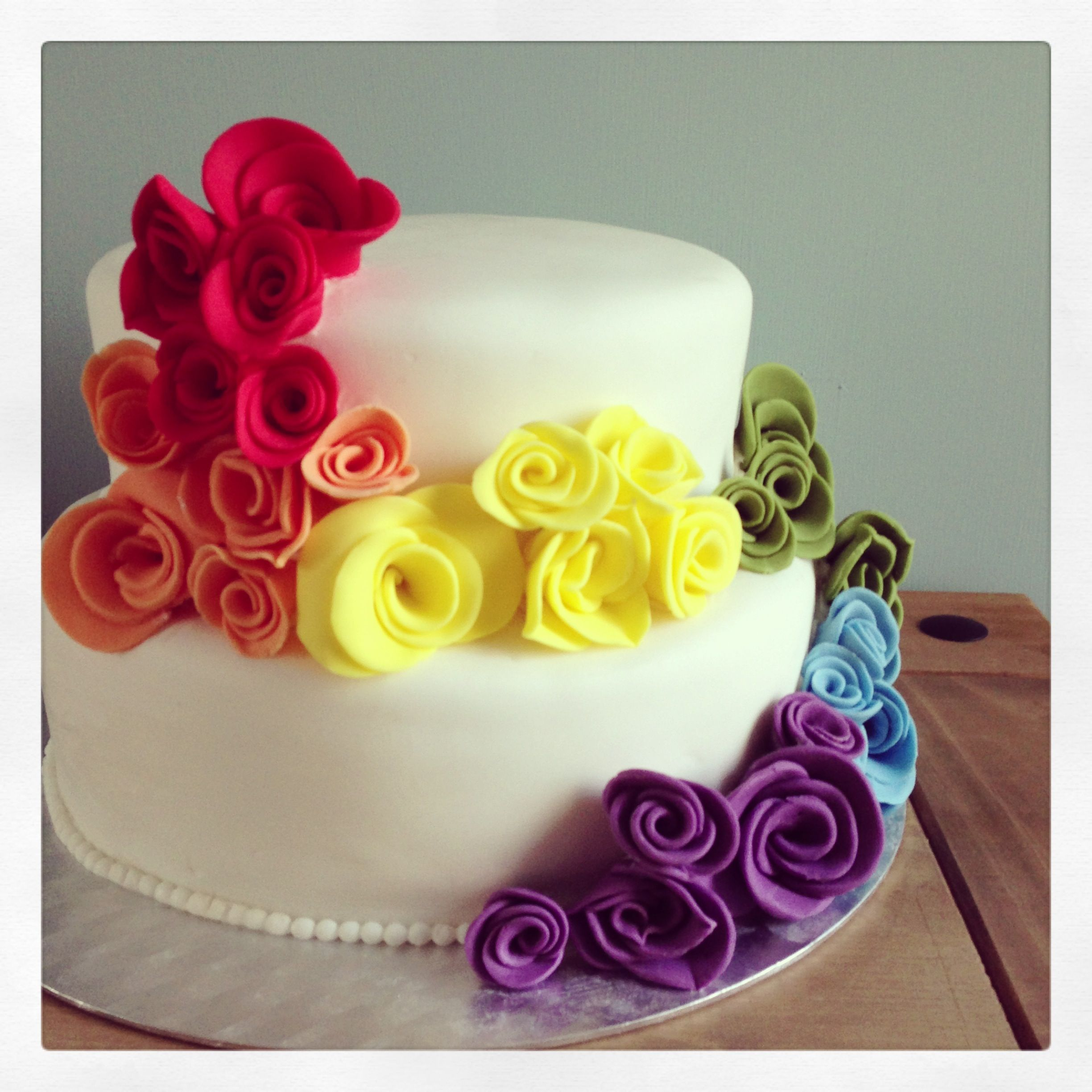 Rainbow Wedding Cake I Could Put The Real Flowers On