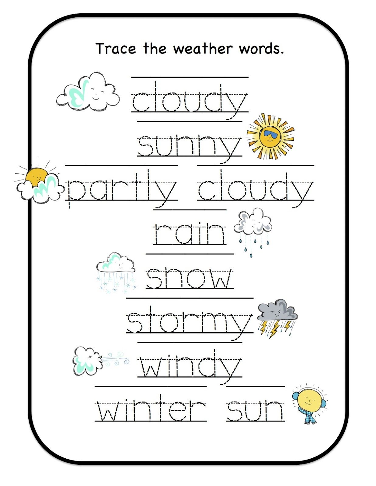 Preschool Printables Weather