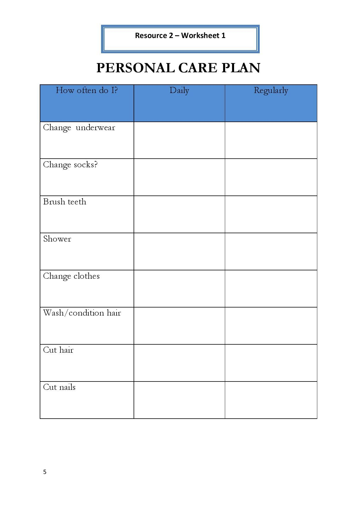 Personal Hygiene Worksheet 1